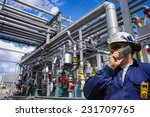 oil worker with giant pipelines ... | Shutterstock . vector #231709765