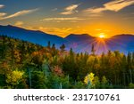 Sunset from  Kancamagus Pass, on the Kancamagus Highway in White Mountain National Forest, New Hampshire.
