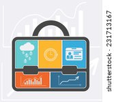 briefcase with graph clock... | Shutterstock .eps vector #231713167