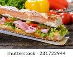 gurmet sandwich with meat and...   Shutterstock . vector #231722944