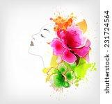 beautiful fashion women with... | Shutterstock .eps vector #231724564