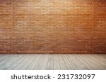 Empty Room With Red Brick Wall...