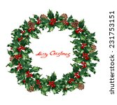 watercolor holly wreath | Shutterstock . vector #231753151