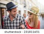 portrait of a beautiful couple... | Shutterstock . vector #231811651