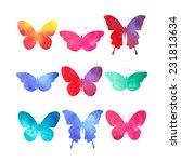 Watercolor Butterflies Set...