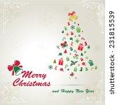 merry christmas card | Shutterstock . vector #231815539