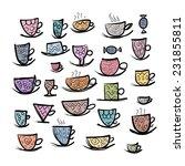set of ornate mugs. sketch for... | Shutterstock .eps vector #231855811