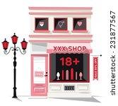 Stock vector sex shop pink building xxx store 231877567