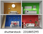 Apartment With Four Colorful...