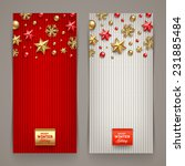 holidays banners with knitting... | Shutterstock .eps vector #231885484