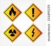 set of warning sign vector on...   Shutterstock .eps vector #231895255