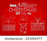 christmas card. three hand  ... | Shutterstock .eps vector #231902977