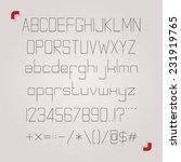 very thin skinny slim font... | Shutterstock .eps vector #231919765