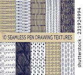 Set Of Ten Abstract Pen Drawing ...