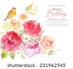 watercolor flowers background | Shutterstock . vector #231962545