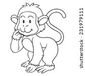 coloring book  monkey  | Shutterstock .eps vector #231979111