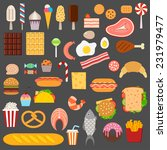 icons of sweets  fast food ... | Shutterstock .eps vector #231979477