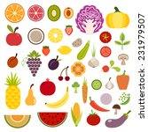 icons of fruits and vegetables...   Shutterstock .eps vector #231979507