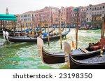 Nice gondolas anchored on Grand Canal of Venice, Italy - stock photo