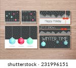 set of winter holidays greeting ... | Shutterstock .eps vector #231996151