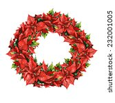 watercolor poinsettia wreath | Shutterstock . vector #232001005