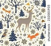 winter forest background.... | Shutterstock .eps vector #232001935