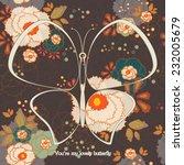 floral pattern butterfly.... | Shutterstock .eps vector #232005679