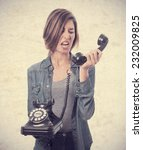 young cool woman shouting at... | Shutterstock . vector #232009825