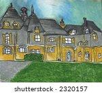 Cottage Mansion Illustration Art Oil Pastel Print - stock photo