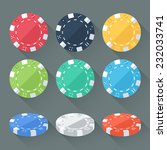 set of colorful gambling chips  ... | Shutterstock .eps vector #232033741