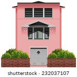 a big pink building on a white... | Shutterstock .eps vector #232037107