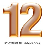 1   2 gold number on white... | Shutterstock . vector #232037719