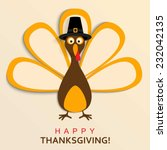 happy thanksgiving turkey | Shutterstock .eps vector #232042135