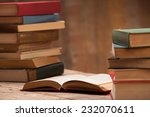 a stack of old books on the...   Shutterstock . vector #232070611