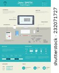flat resume with infographics.... | Shutterstock .eps vector #232071727