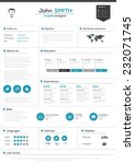 flat resume with infographics... | Shutterstock .eps vector #232071745