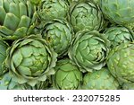 Background Of Fresh Artichokes...