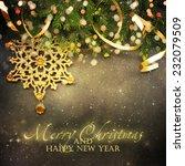 christmas fir tree with... | Shutterstock . vector #232079509