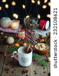 christmas coffee on a wooden... | Shutterstock . vector #232108621