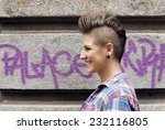 young girl with urban punk rock ...   Shutterstock . vector #232116805