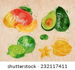 exotic fruit set drawn... | Shutterstock .eps vector #232117411