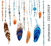 set of ethnic feathers. ethnic... | Shutterstock .eps vector #232119019