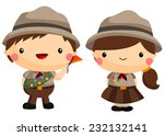 boy and girl scout | Shutterstock .eps vector #232132141