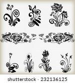 set of flower silhouettes.set... | Shutterstock .eps vector #232136125