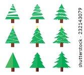 christmas tree set vector | Shutterstock .eps vector #232143079