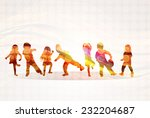 children silhouettes happy kids ... | Shutterstock .eps vector #232204687
