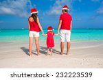 happy family in santa hats... | Shutterstock . vector #232223539