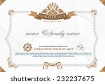 gold horizontal certificate...   Shutterstock .eps vector #232237675