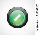 pencil sign icon green shiny...
