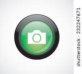 camera sign icon green shiny...